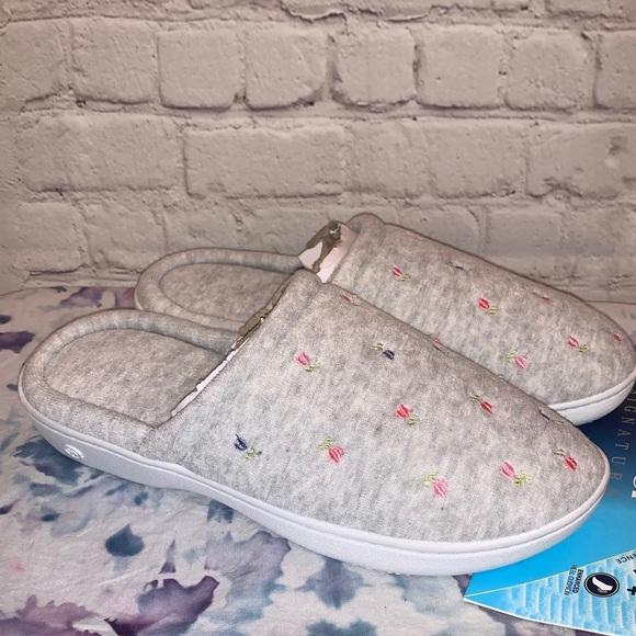 NWT Isotoner Signature Memory Foam Gray Slippers